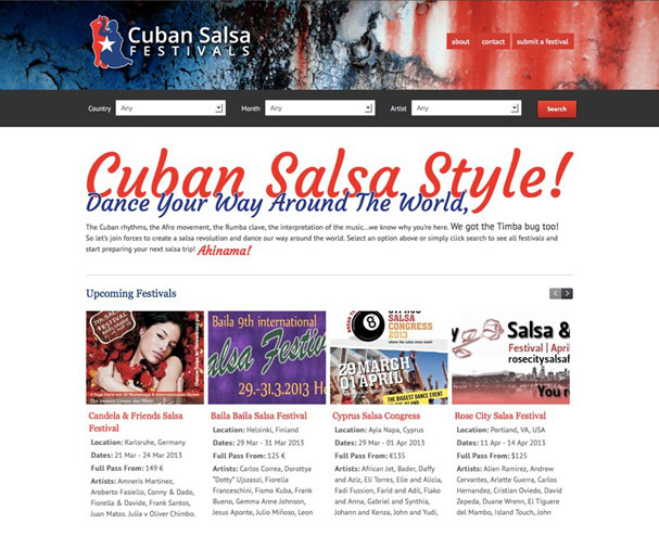 Cuban Salsa Festivals Website